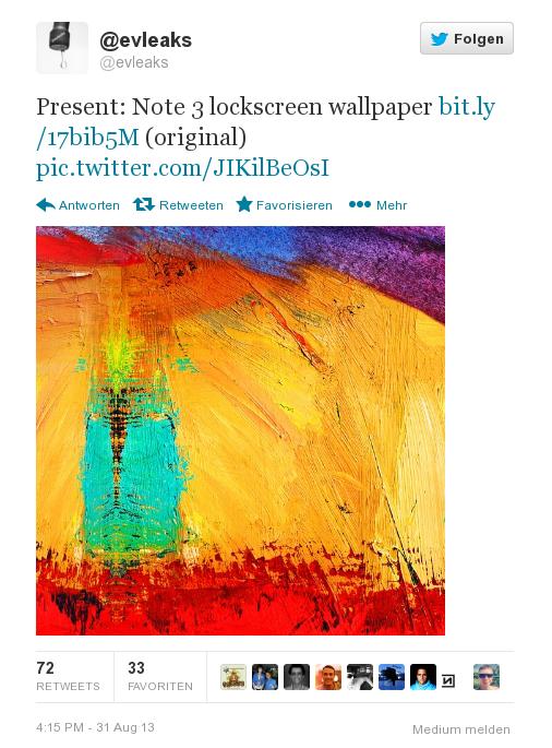 Wallpaper des Sperrbildschirm des kommenden Samsung Galaxy Note 3 geleakt