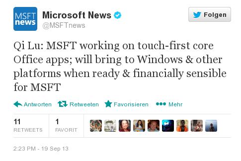 """Microsoft arbeitet an kompletter, systemübergreifender """"Touch-Version"""" seiner Office Apps"""