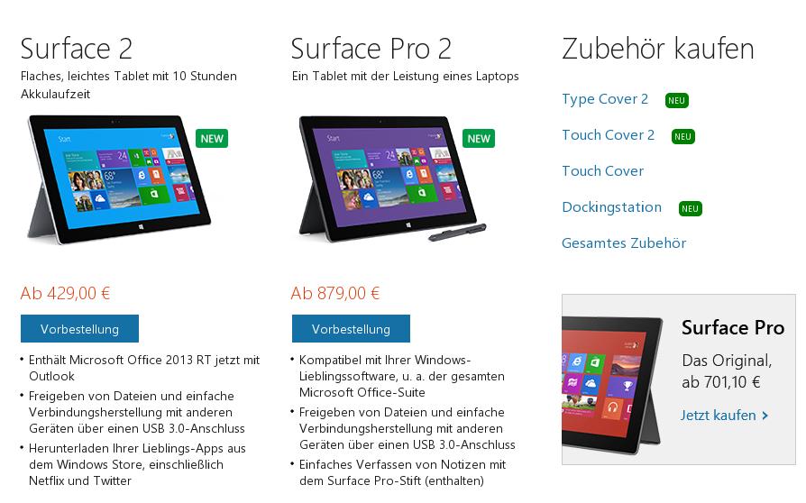 """Surface 2"" & ""Surface 2 Pro"" ab sofort vorbestellbar"
