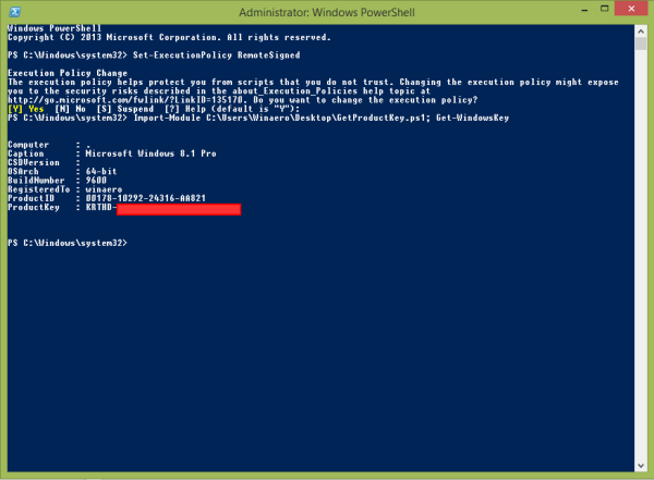 Windows Lizenz-Schlüssel ohne Fremdsoftware mit Hilfe von Powershell auslesen lassen