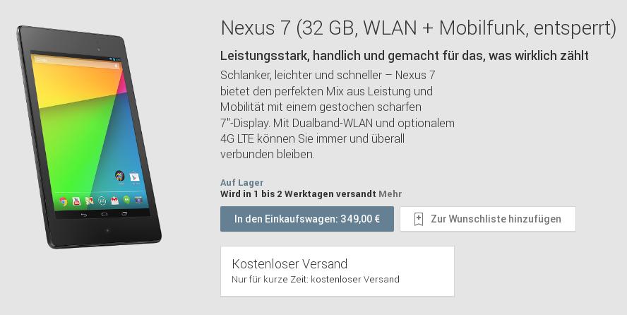 Google Nexus 7 (2013) mit 32 GB & LTE im Play Store verfügbar