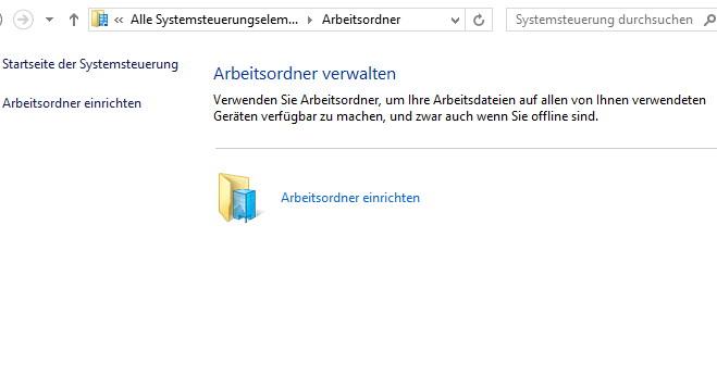 Arbeitsordner (Work Folder) entfernen in Windows 8.1