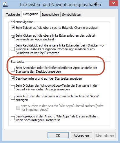 """""""Boot to Desktop""""-Option unter Windows 8.1 ausgebaut"""