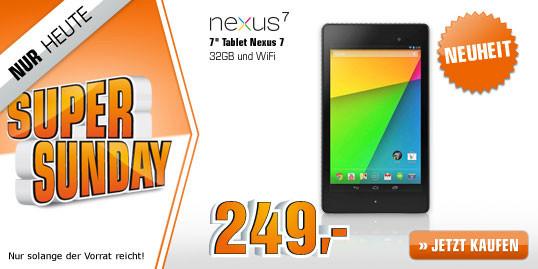"""Schnäppchenjäger aufgepasst – Das """"Nexus 7 (2013)"""" mit 32 GB & Wifi nur heute beim Saturn """"Super Sunday"""" für 249,- €"""