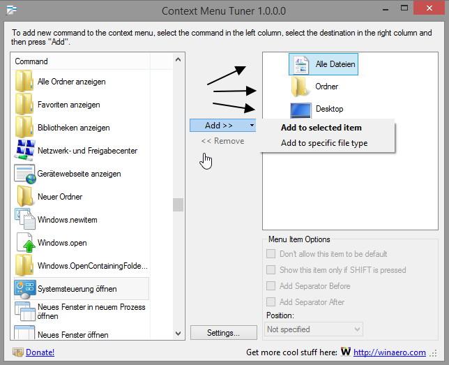 Context Menu Tuner – Kontextmenüeinträge mit einem Tool hinzufügen