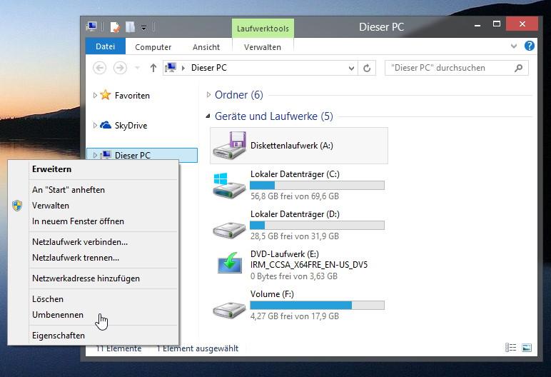 Im Windows 8.1 Explorer  Dieser PC wieder in Computer oder Arbeitsplatz umbenennen