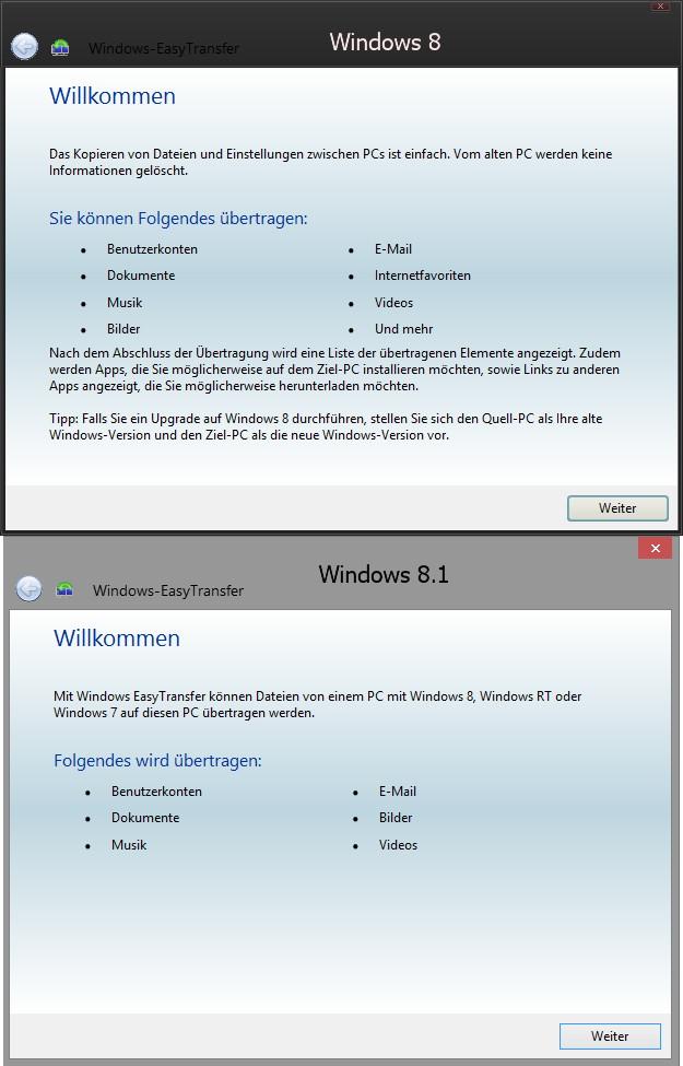 Easy Transfer kopiert keine Daten mehr unter Windows 8.1