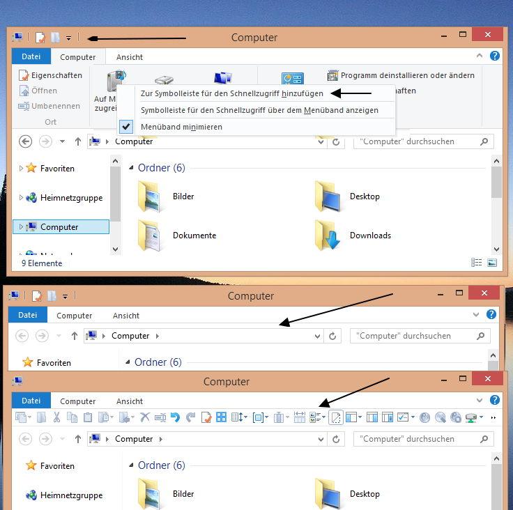 Windows 8.1 / 8 Explorer Symbolleiste unter dem Ribbon anzeigen