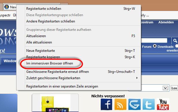 Internet Explorer 11 unter Windows 8.1 erlaubt Wechsel von der App-Ansicht in die Desktop-Ansicht & umgekehrt