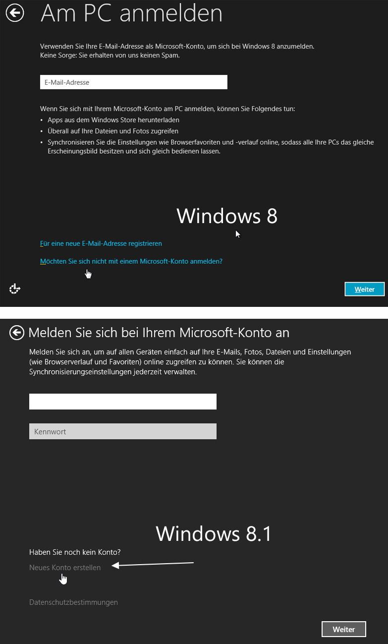 Lokales Konto einrichten Windows 8.1
