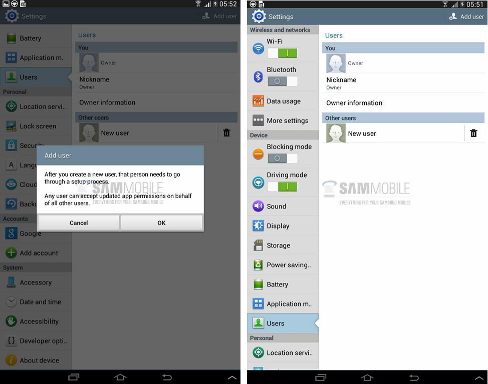 Multi-User-Funktion bald im Galaxy Tab 3 8.0 und 10.1