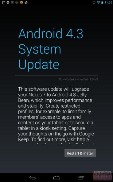 [Kurzinfo] Android 4.3 Jelly Bean Version JSSR15 für das Nexus 7 (2013) wird ausgerollt