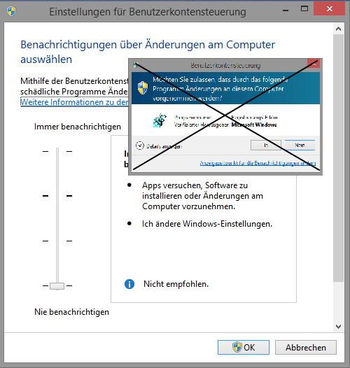 Windows 8.1 Benutzerkontensteuerung -UAC- kann ohne Probleme deaktiviert werden