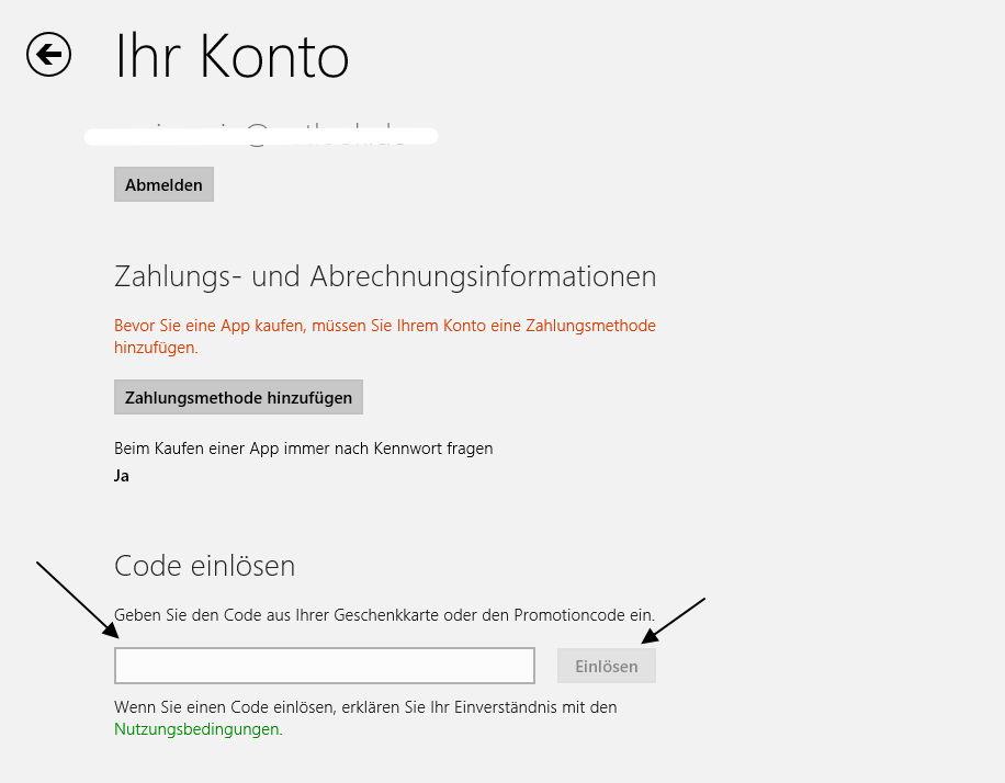 Windows 8.1 und 8 Apps im Store mit dem Code einer Geschenkkarte bezahlen