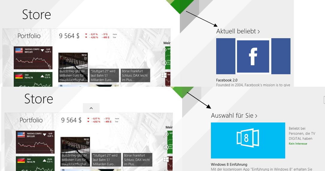 """Im Windows Store """"Auswahl für Sie"""" entfernen"""