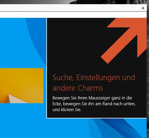 Hilfe-Einblendungen innerhalb der Ecken von Windows 8.1 deaktivieren