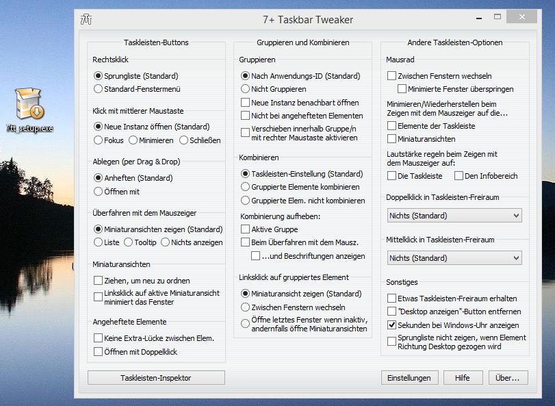 7+ Taskbar Tweaker nun auch für Windows 8.1