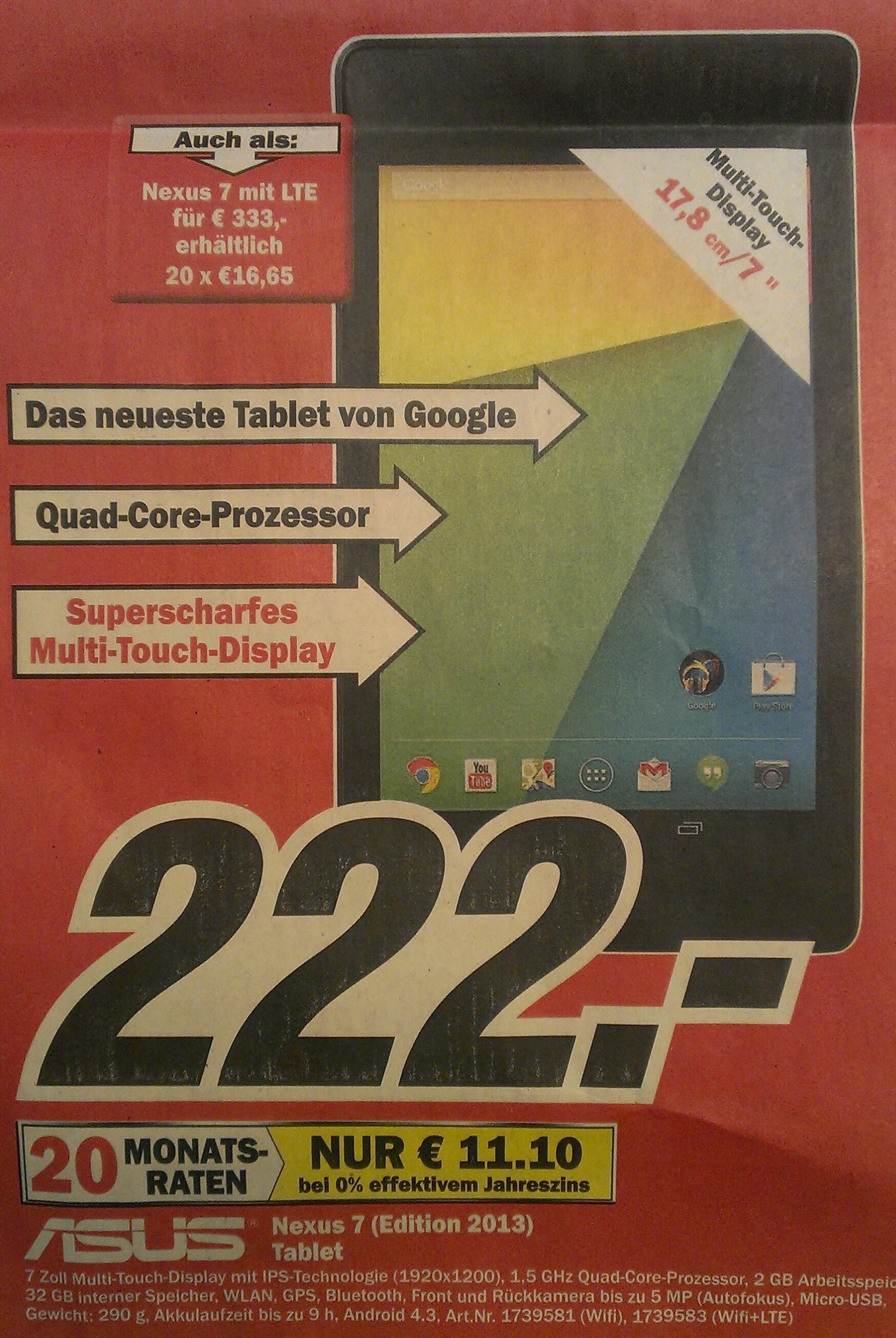 Angebote im Media Markt Lüneburg – Nexus 7 (2013) mit 32 GB für nur 222,-€ / LTE-Version für 333,-€