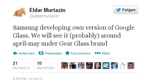 """Samsung's Google Glass Konkurrent """"Samsung Gear Glass"""" soll im nächsten Jahr erscheinen"""