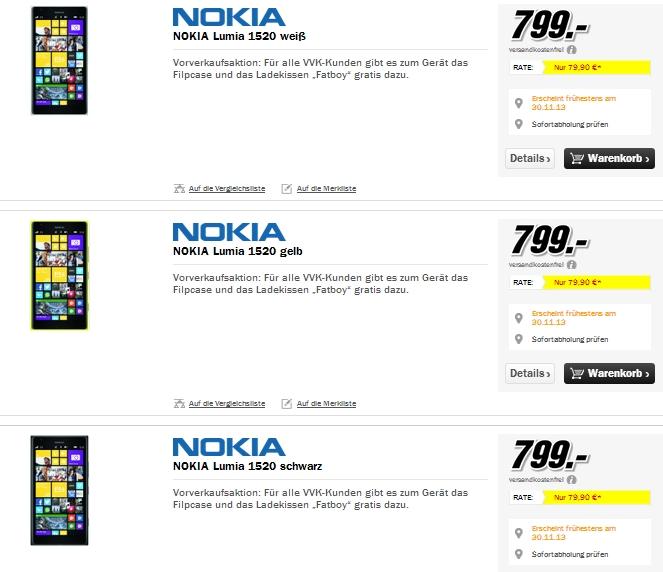 """""""Nokia Lumia 1520"""" beim Media Markt im Vorverkauf mit gratis Flipcase & Ladekissen """"Fatboy"""""""