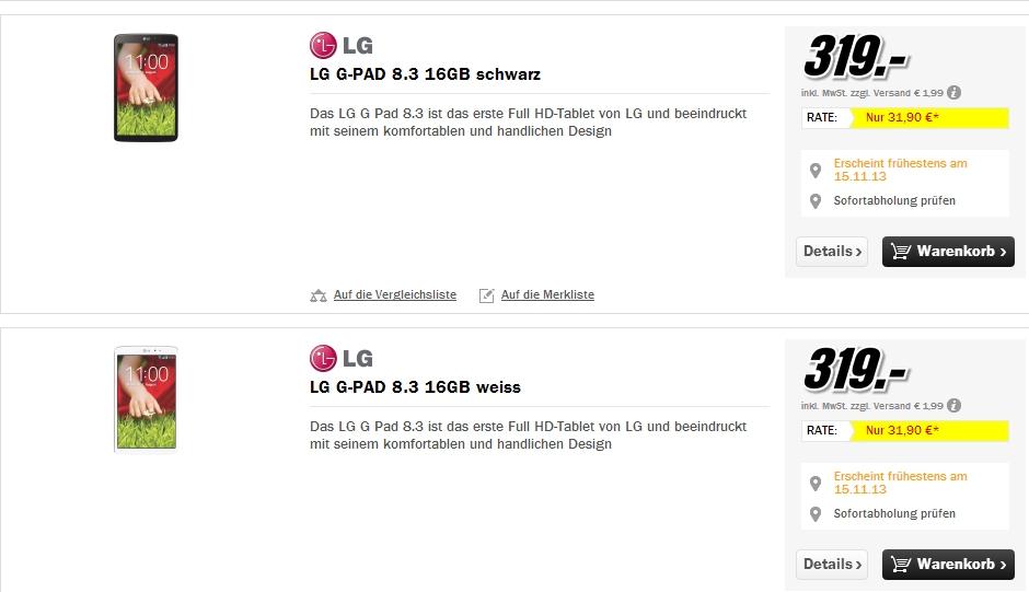 """[Update] """"LG G Pad 8.3"""" – Keine LTE-Version in Sicht und Verkaufspreise nach Oben korrigiert"""