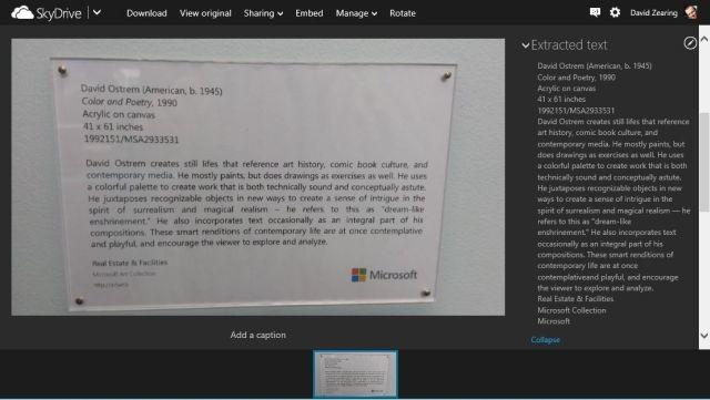 OCR-Feature unter SkyDrive im Video aufgezeigt
