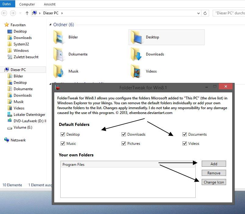 Folder Tweaker ein Tool zum entfernen, hinzufügen und ändern von Ordnern  Windows 8.1