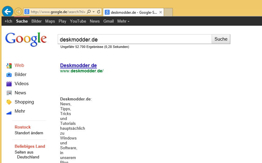 Google-Suche unter Windows 8.1 mit dem Internet Explorer 11 nicht möglich