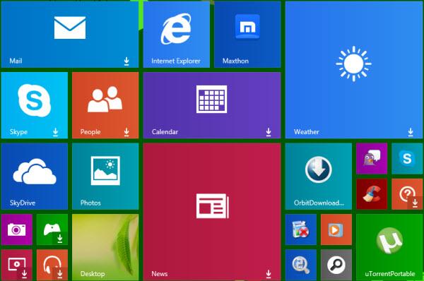 """""""Download Pfeil"""" innerhalb von Tiles auf dem Windows 8.1 Startscreen aufgetaucht"""