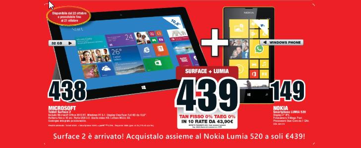 Surface 2 + Nokia Lumia 520 bei Media Saturn in Italien für 439,- Euro