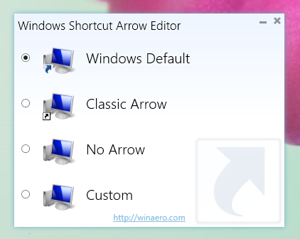 Windows Shortcut Arrow Editor mit einem Update