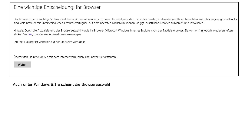 Windows 8.1 Installation nun auch mit Browser-Auswahlmenü KB976002