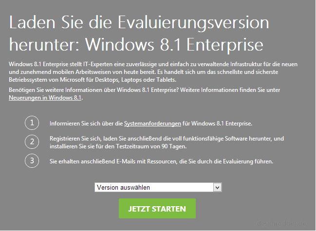 Windows 8.1 Enterprise als Testversion erhältlich