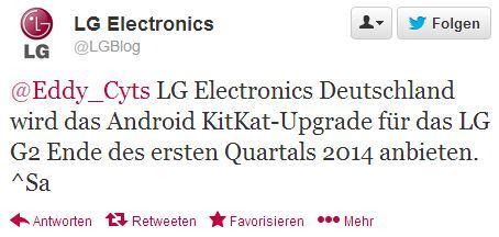[Kurzinfo] Android 4.4 für das LG G2 kommt erst am Ende des 1.Quartals 2014