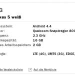 [Kurzinfo] Nexus 5 in weiß und 16 GB Speicher nun bei Media Markt vorbestellbar
