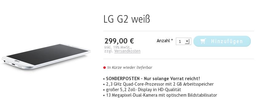 """Solange der Vorrat reicht – """"LG G2"""" aktuell für 299,- Euro verfügbar"""