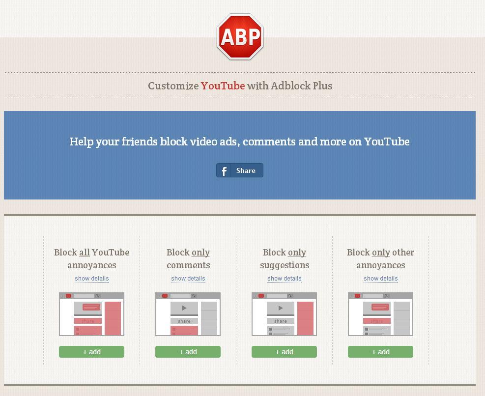 Mit Adblock (Plus) auf YouTube und Facebook einzelne Bereiche blocken