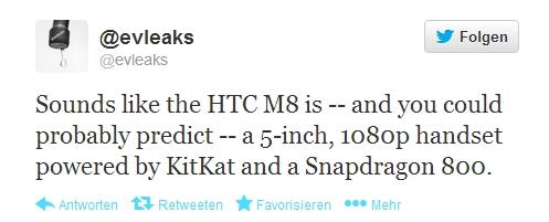 """Kommendes """"HTC M8"""" kommt mit Android 4.4, Snapdragon 800 und 5 Zoll FullHD-Display"""