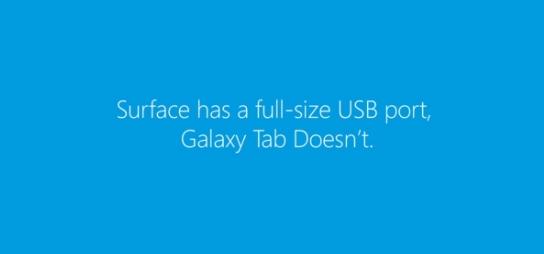 Microsoft vergleicht USB-Anschluss beim neuen Surface mit dem Samsung Galaxy Tab MicroUSB-Port