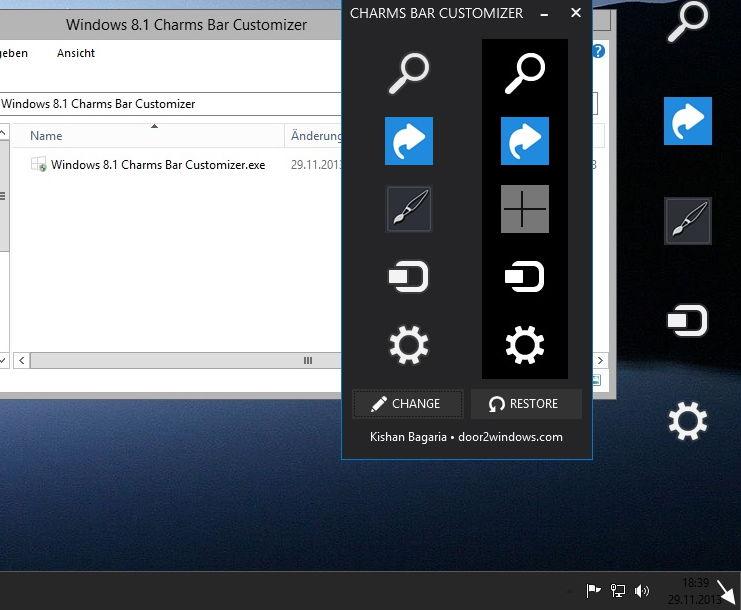 Windows 8.1 Charms Bar Customizer – Eigene Icons in die Charms Bar einfügen