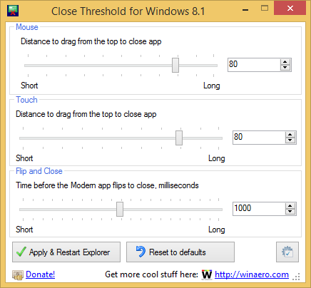 "Windows 8.1 Apps mit ""Close Threshold for Windows 8.1"" schneller beenden"