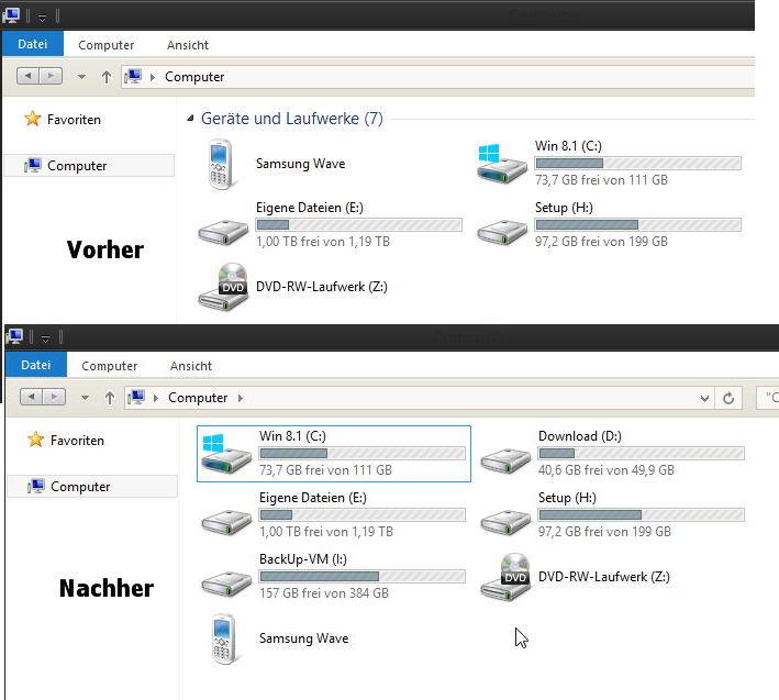 Im Explorer die Festplatten und Geräte separat und sortiert darstellen Windows 8.1