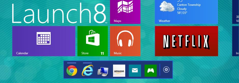 """Dock-Leiste auf dem Windows 8/ 8.1 Startscreen – Stardock veröffentlich finale Version von """"Launch8"""""""
