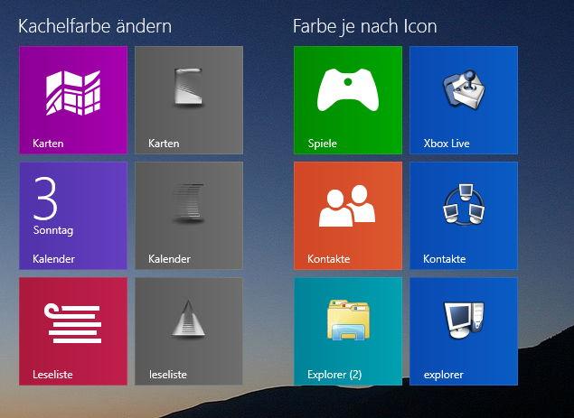 Kachel – Tile – Farbe ändern Windows 8.1