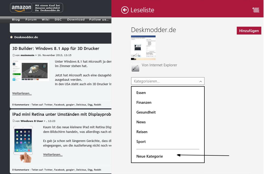 In der Leseliste kann man nun eigene Kategorien anlegen Windows 8.1 App