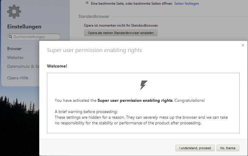Opera 19 mit einer Super User Einstellung um die Suche im Schnellstart zu entfernen