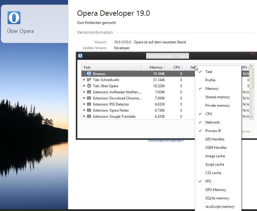 Neue Opera 19 Developer 1310.0 erschienen