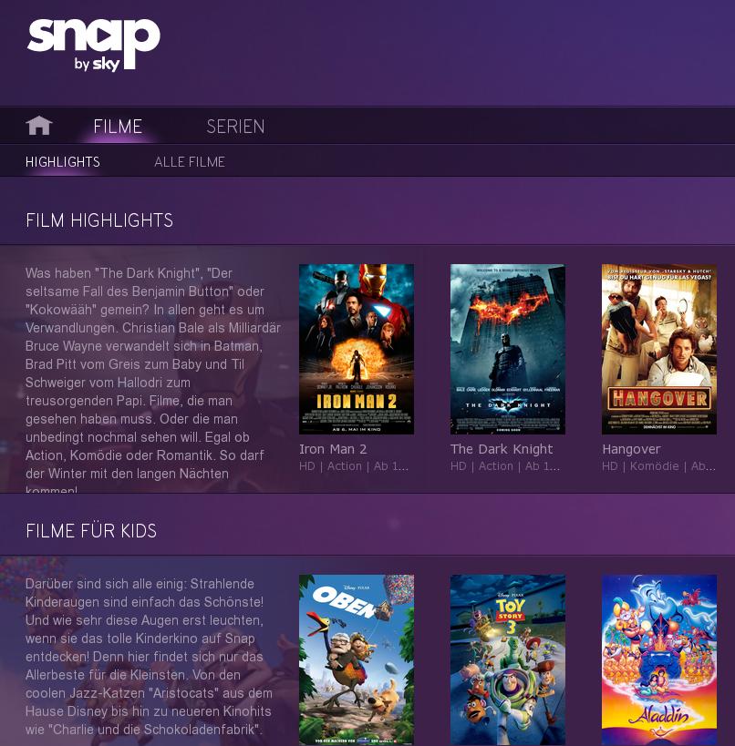 "Online-Videothek "" Snap by Sky"" startet"