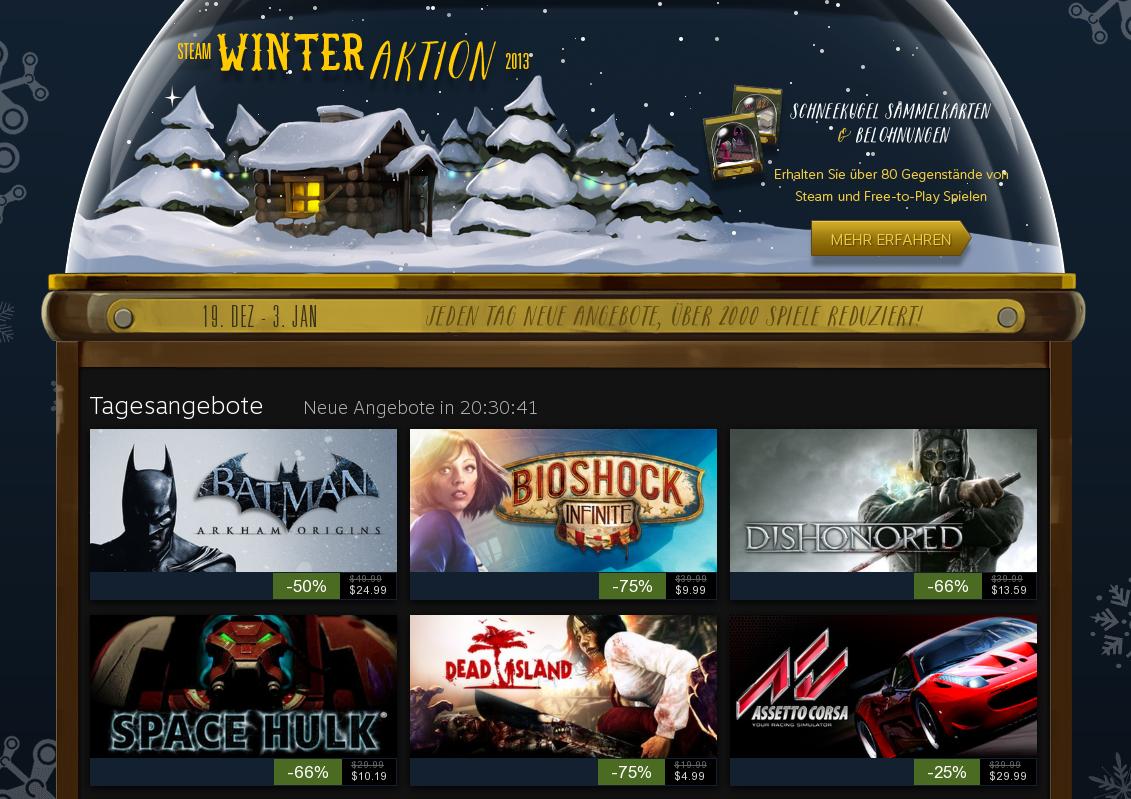 """Steam startet """"Winteraktion 2013"""" – Täglich reduzierte Spiele abstauben"""