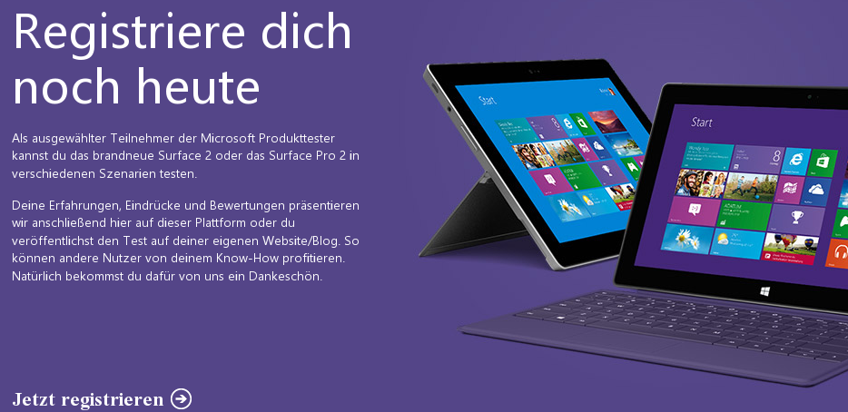 """Microsoft startet """"Produkttester-Community"""" – Tester für Surface 2 & Surface Pro 2 gesucht"""